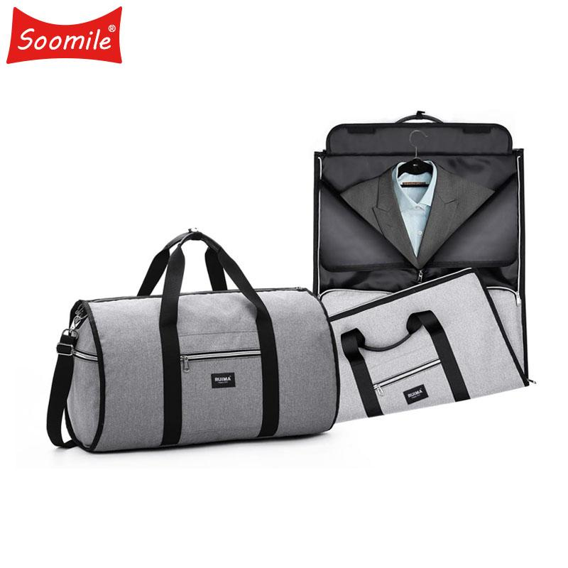 9f0c4e297 2018 Travel Garment Bag Suit Busines 2 In 1 Men Duffle Bags Suitcase Trip  Luggage HandbagTravel Organizer Foldable Shoulder Bag Leather Handbags Hand  Bags ...