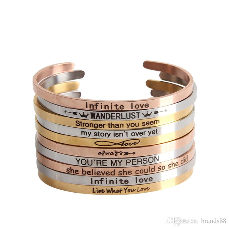 61a21a1a92c New Engraved Mantra Bracelet Inspirational Stainless Steel Engraved ...
