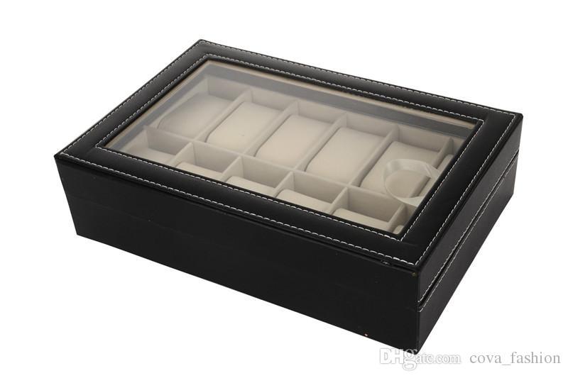 12 Grid Black PU Wooden Wrist Watch Box Display Box Jewelry Storage Holder Organizer Case with Glass Window /ctn