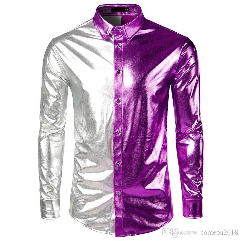 Men T Shirts Long Sleeve Dress Shirts Men Patchwork Casual Shirts ... 364a4f7d496d