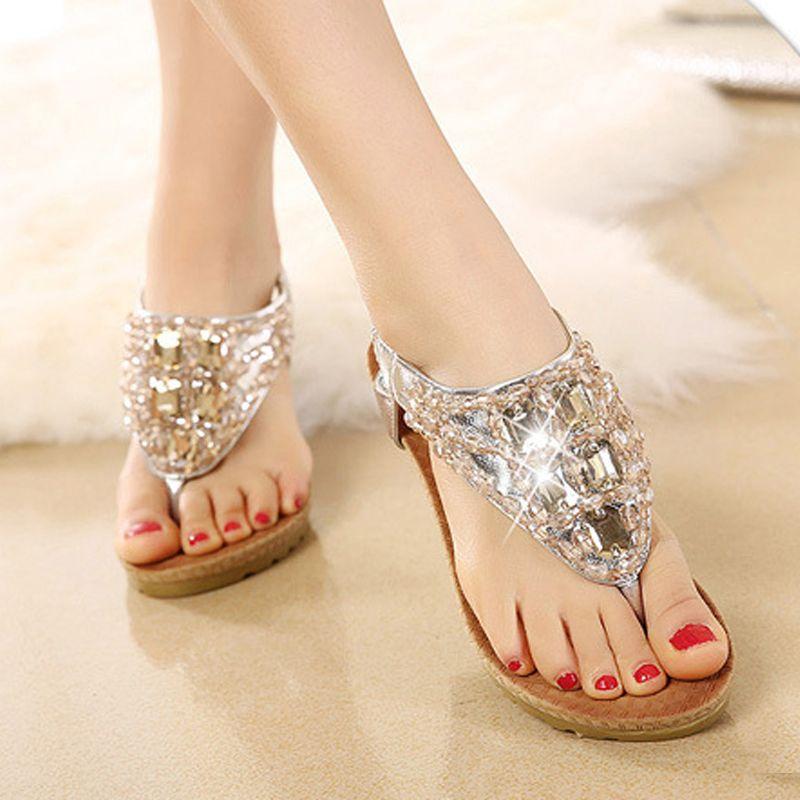 71f54d37e Women Shoes Nice New Fashion Sandals Bohemian High Heeled Shoes Europe And  The United States Rhinestone Flip Flops Sandal BT522 Womens Slippers  Sheepskin ...