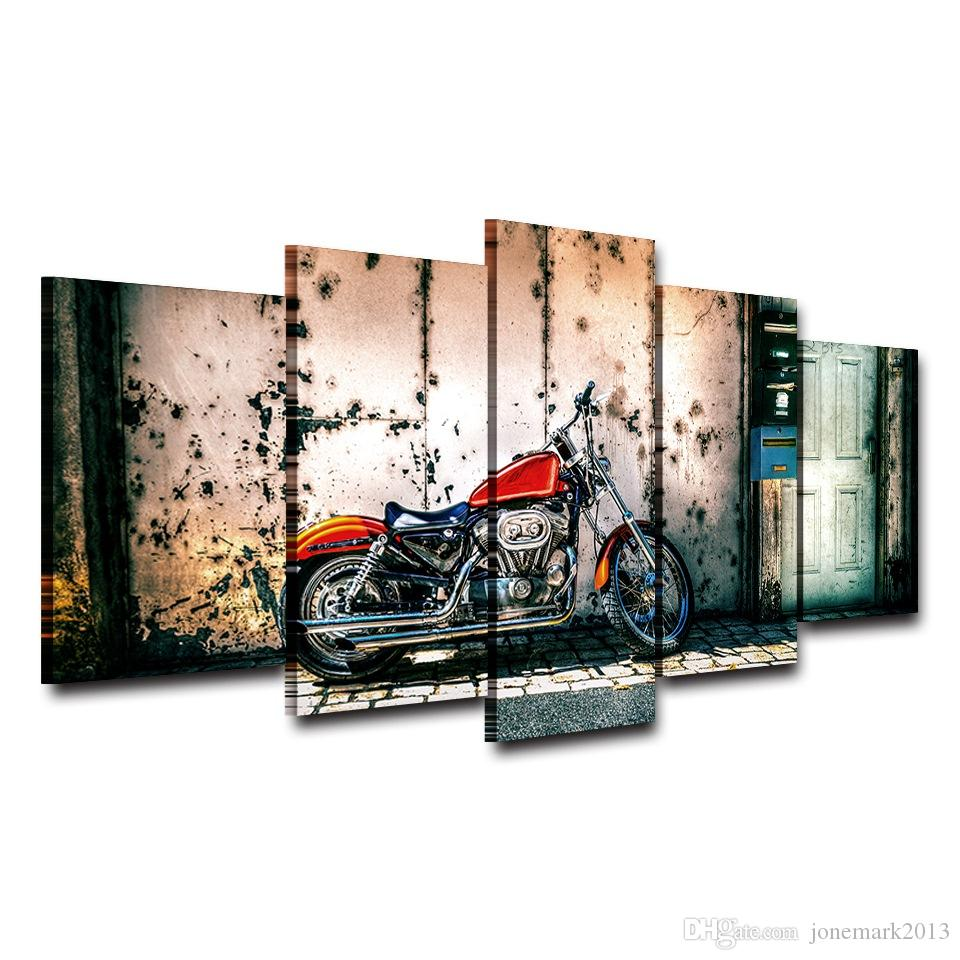 Motocycle Artistic Print Drawing Decor on Canvas Spray Oil Painting Decoration for Home Framed Printed wall art picture AE1199