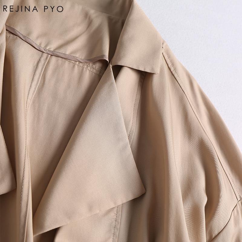 REJINAPYO Kadınlar Casual Katı Gevşek Yüksek Sokak Kaplı Düğme Trençkot Uzun Coat Turn-aşağı Yaka Metal Yüzükler Cepler