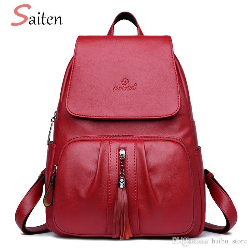 SAITEN Luxury Tassel Women s Backpacks High Quality PU Leather ... d47705b640c3f