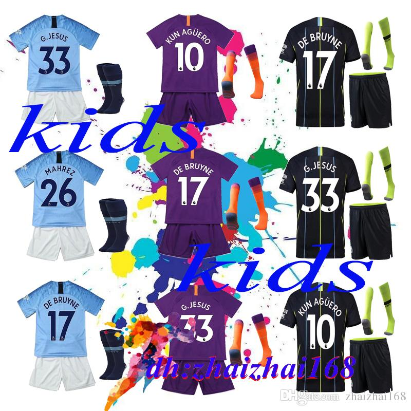 2019 2018 19 Man City Soccer Jersey Home Kids Kit Socks 18 19 City Away  MAHREZ KUN AGUERO KOMPANY TOURE YAYA DE BRUYNE Child Football Jersys From  ... 498e16973
