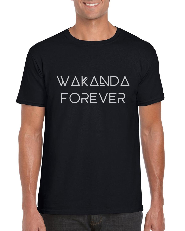 3234e6a68b Compre Camisa Pantera Negra Wakanda Para Sempre Marvel Filme Mens Unisex  Camiseta Cinza Marinha De Yuxin010