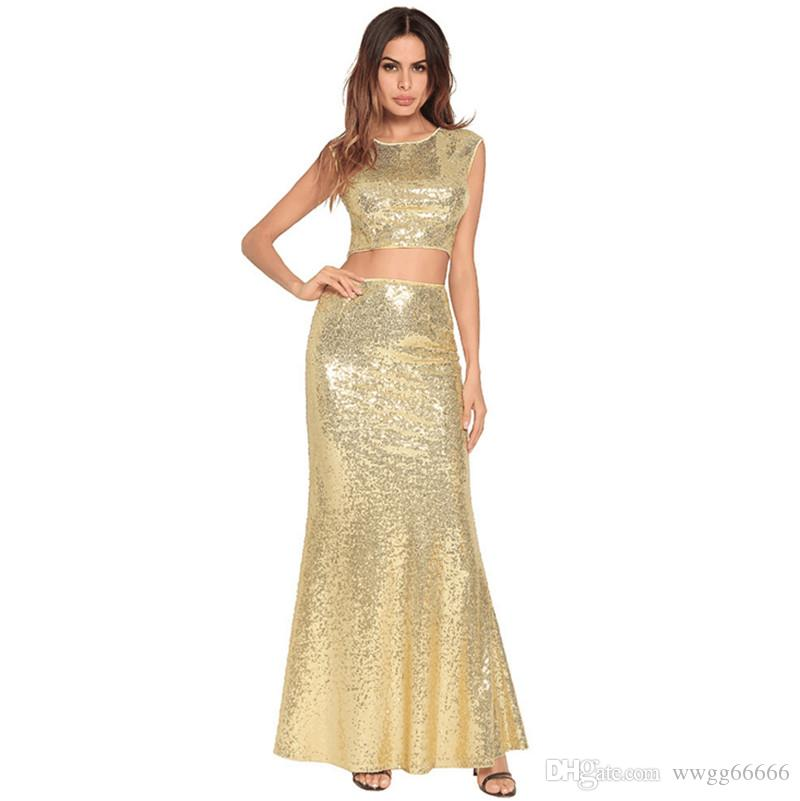 Womens Two Piece Dress New Style Sexy Fishtail Gown Sequins Dress