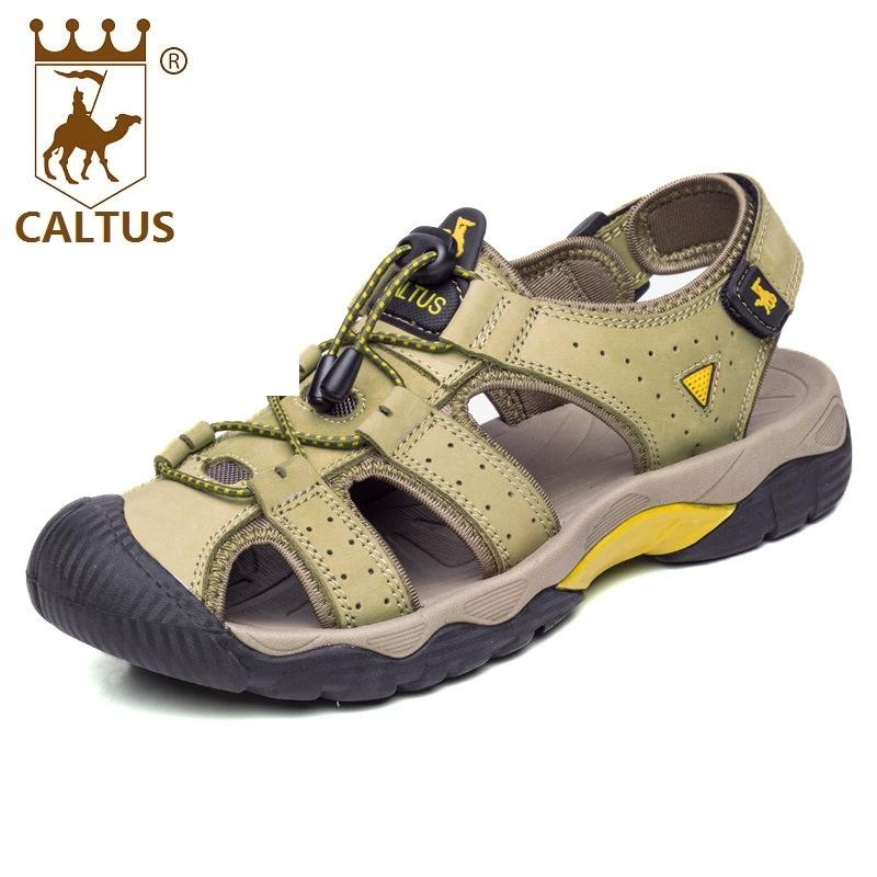 886638a4be1 Caltus Men Sandals 2017 Soft Footwear Classic Men Flats Genuine Leather All  Match Casual Shoes AA50127 High Heels Heels From Clearityy