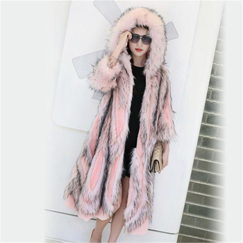 8b008757228 2017 Winter Fur Coat Fashionable New Women's Imitation Fur Midi Pattern  Hooded Pink Imitation Coat Celebrity With Same Style Imitation Fur Coat Fur  Coat Fur ...