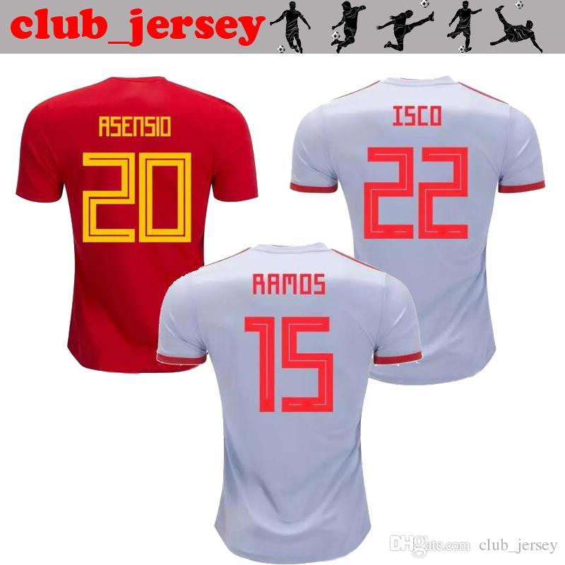 9d3226adbd Camiseta De Fútbol De España Asensio 2018 INIESTA RAMOS Casa Rojo Lejos  Gris COSTA SILVA ISCO VAXI Camiseta De Fútbol De Primera Calidad Camiseta  De Fútbol ...