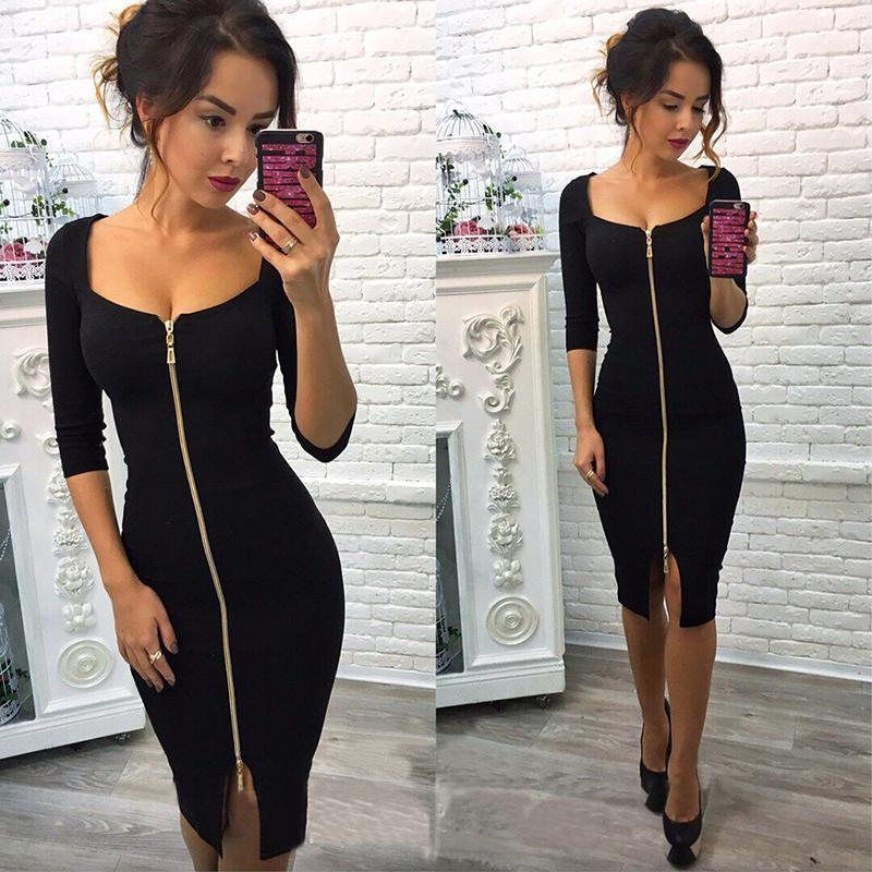 c627db92 2019 Moda de verano Mujeres Sexy Club Bodycon Vaina Vestido de cremallera  Azul Rojo Negro Hasta la rodilla Fiesta Vestido de oficina Vestidos Tallas  ...