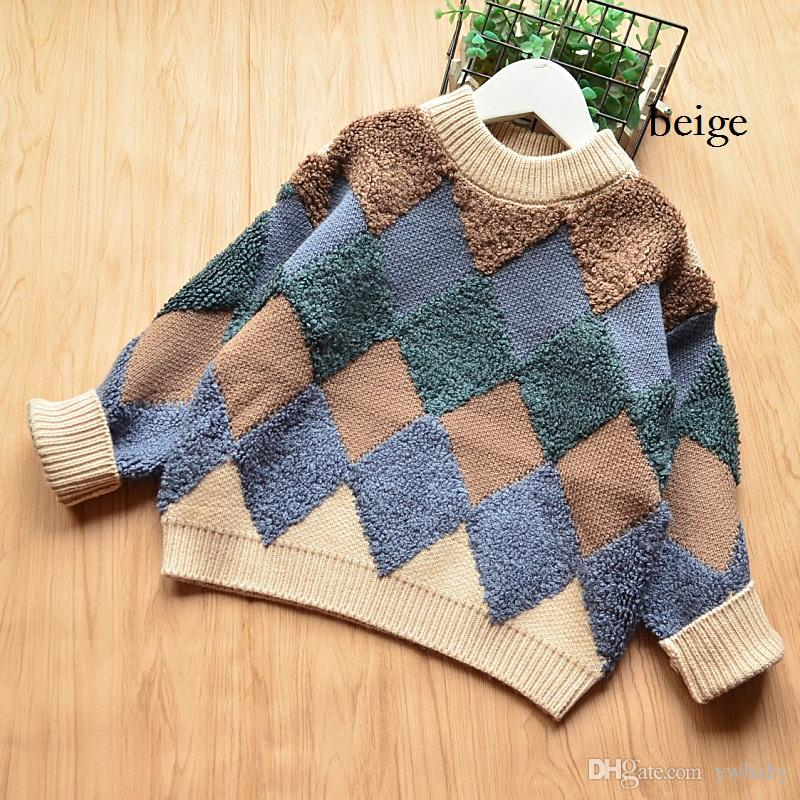 719dc6814 2018 Baby Boy Clothes Knit Plaid Jumper Sweater Boy Clothing Winter ...