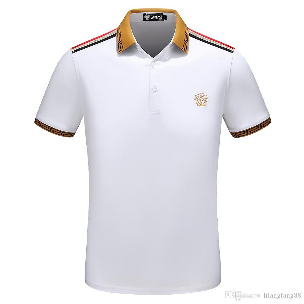 5e121ee9ec polo shirt fashion short sleeve animal embroidery bees Polo T-shirt men s T- shirt design printing poloshirts clothing Medusa shirt