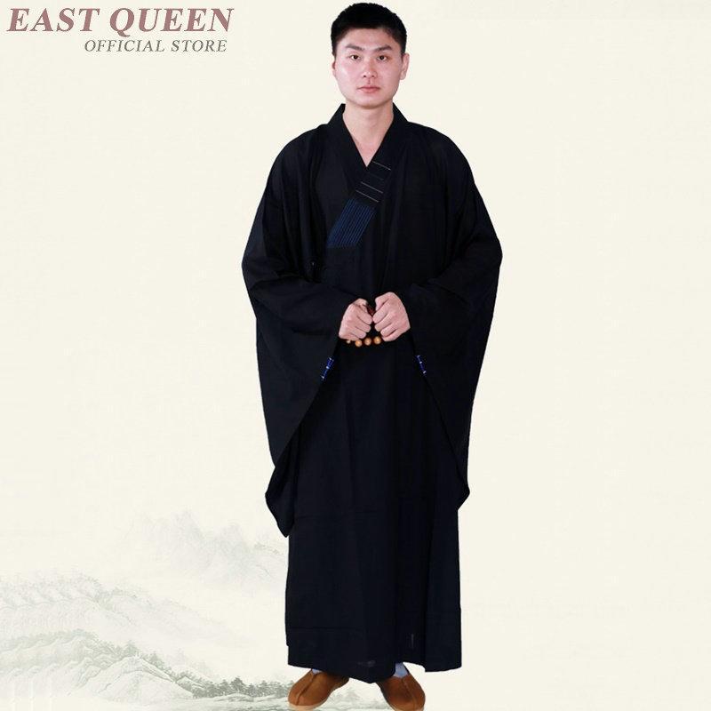 Y Kk2293 Mala Buddhist Robes Costume Outfit Monk Black Shaolin RL35Aj4