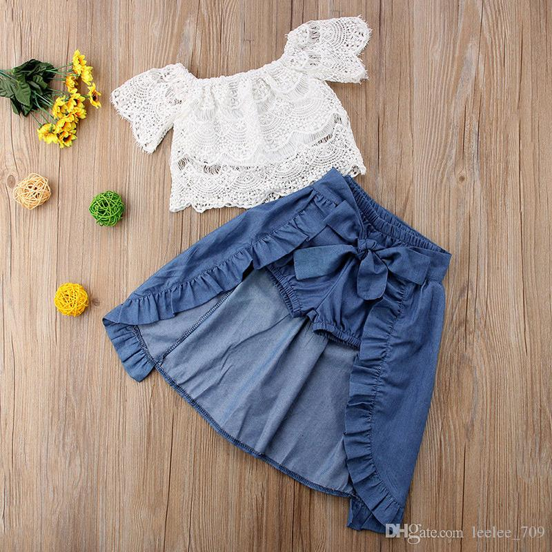 2018 INS baby girl niño pequeño Set out Off hombro encaje Tank Tops Camisas + Denim Shorts Pants Bloomers + Denim Falda