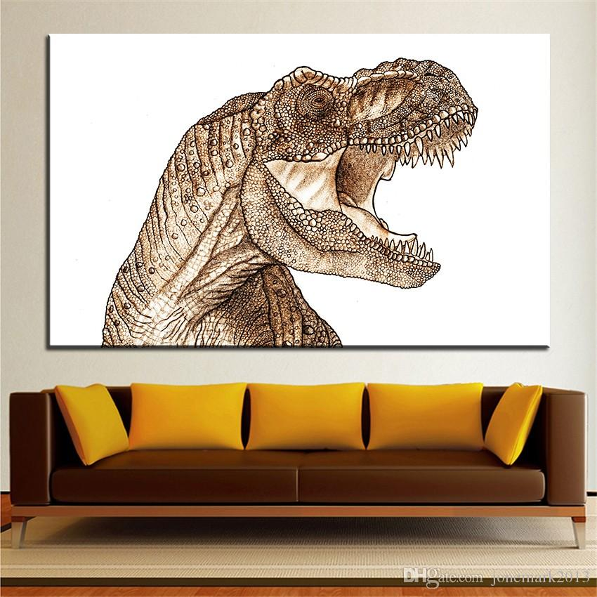 Satın Al Büyük Boy Baskı Yağlıboya T Rex Dinozor Duvar Boyama Dekor