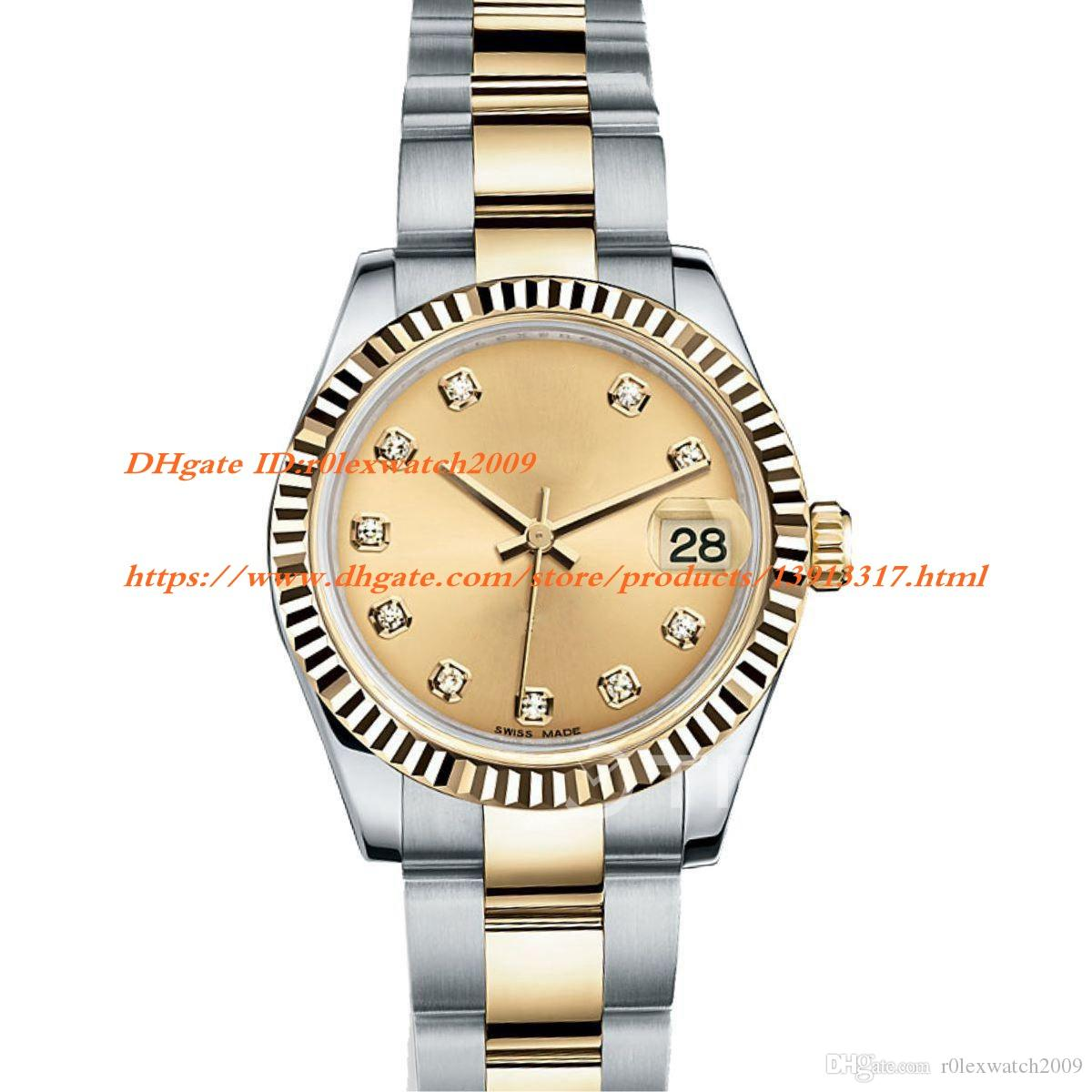 YG Factory Date Just 178273 31mm Stainless Steel Two Tone Best Edition Gold  Dial Diamond Marker on Two Tone Bracelet A 2836 Woman