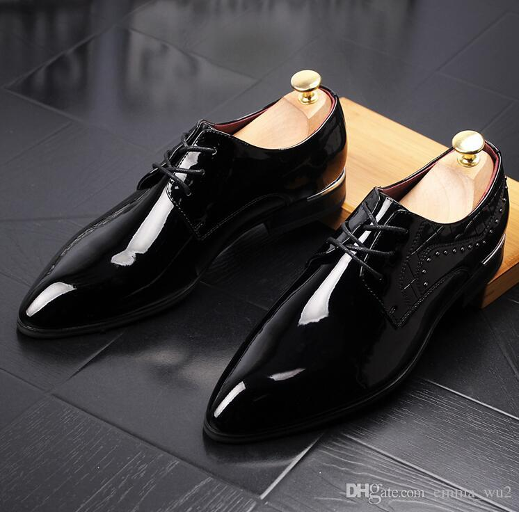 1a150b948ee New Pointed Toe Men Dress Shoes Bright Patent Leather Luxury Fashion ...