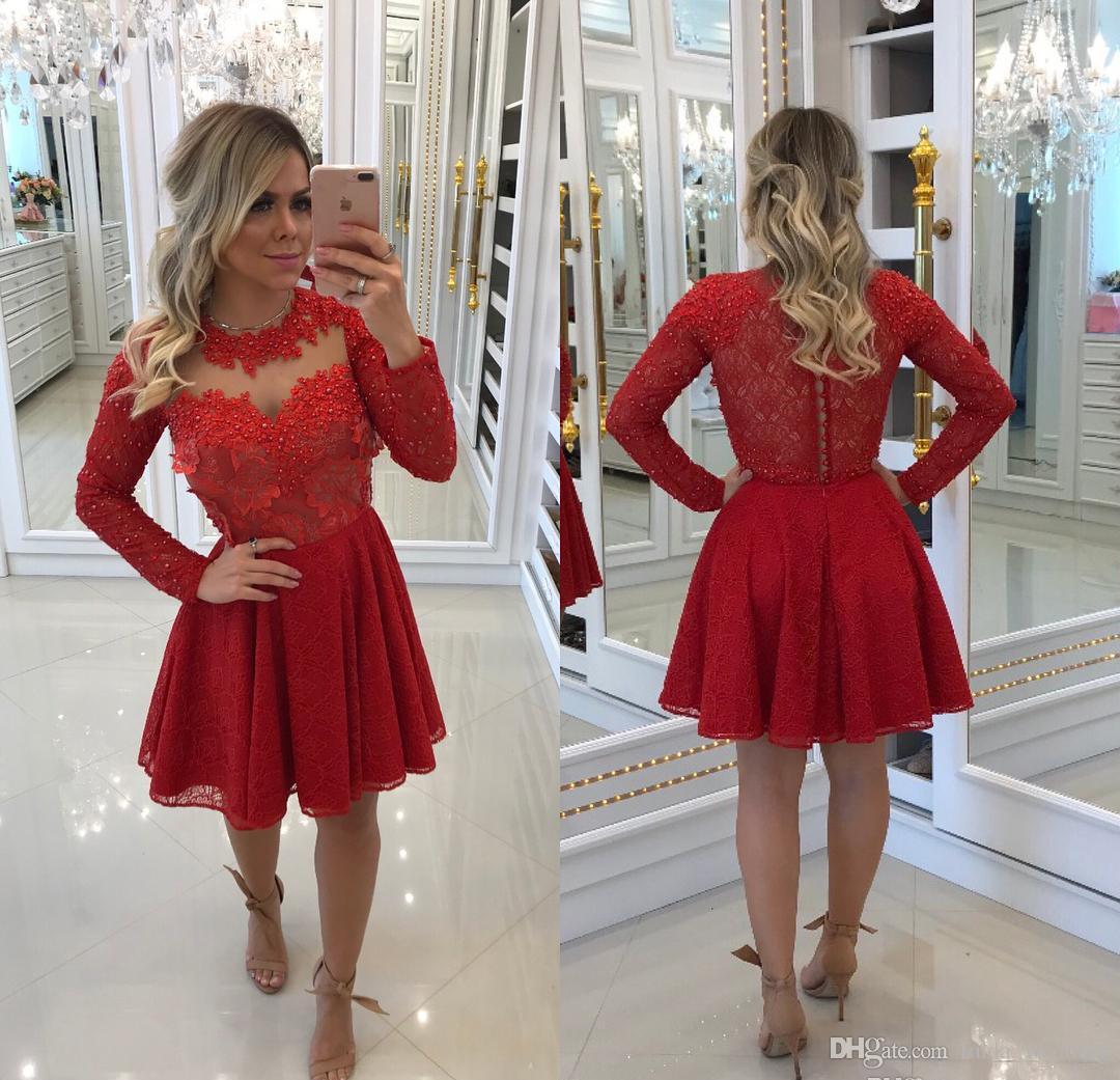 98fd4e33a037d Pas cher court une ligne dentelle Applique robe de retour rouge Vintage  Juniors douce 15 Graduation cocktail robe de soirée, plus la taille faite  sur ...