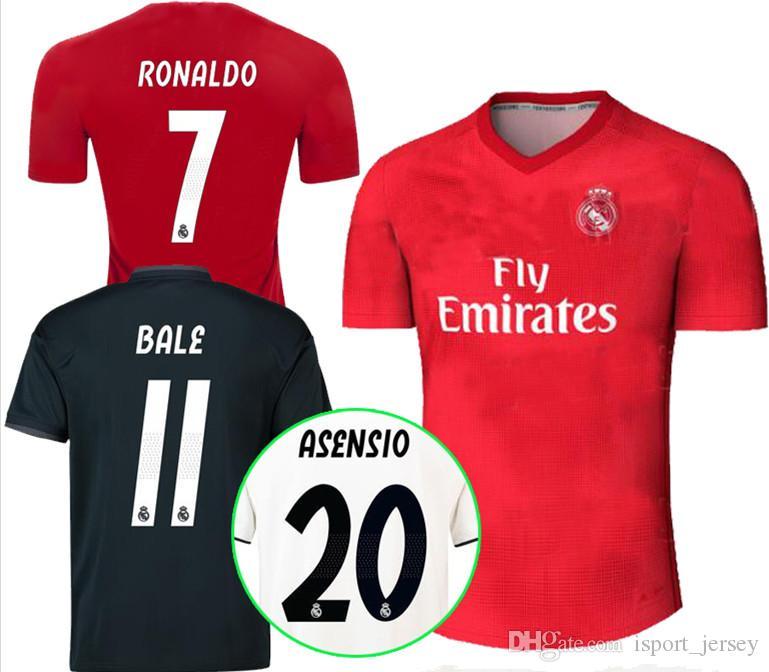 fe1968706e9 2019 Real Soccer Jersey 18 19 Madrid Away Blue Soccer Shirt 2018 ...