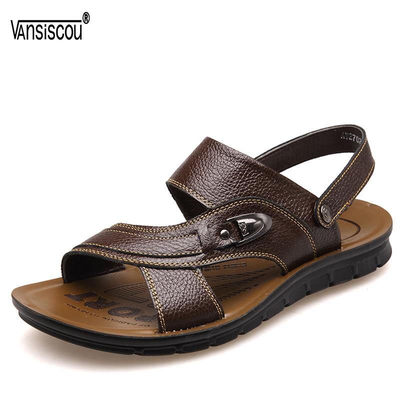 VANSISCOU Men Luxury Summer Beach Sandals Shoe Male Anti-skid Soft Genuine Leather Casual Slippers Zapatos Sandalias Hombre