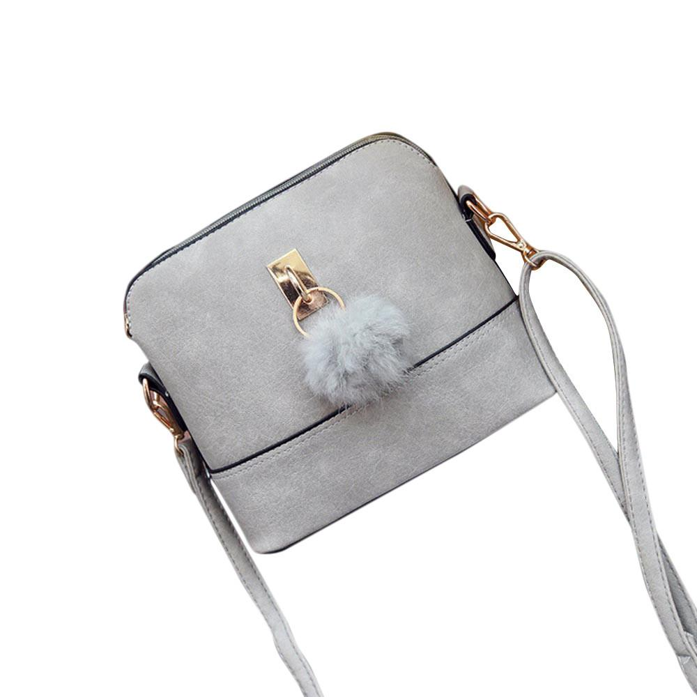 106139044706 2018 Famous Brand Crossbody Bag Korean Women Fashion Messenger Bag PU  Leather Shoulder Bags Frosted Shell Cute Hair Balls Beach Bags Designer Bags  From ...