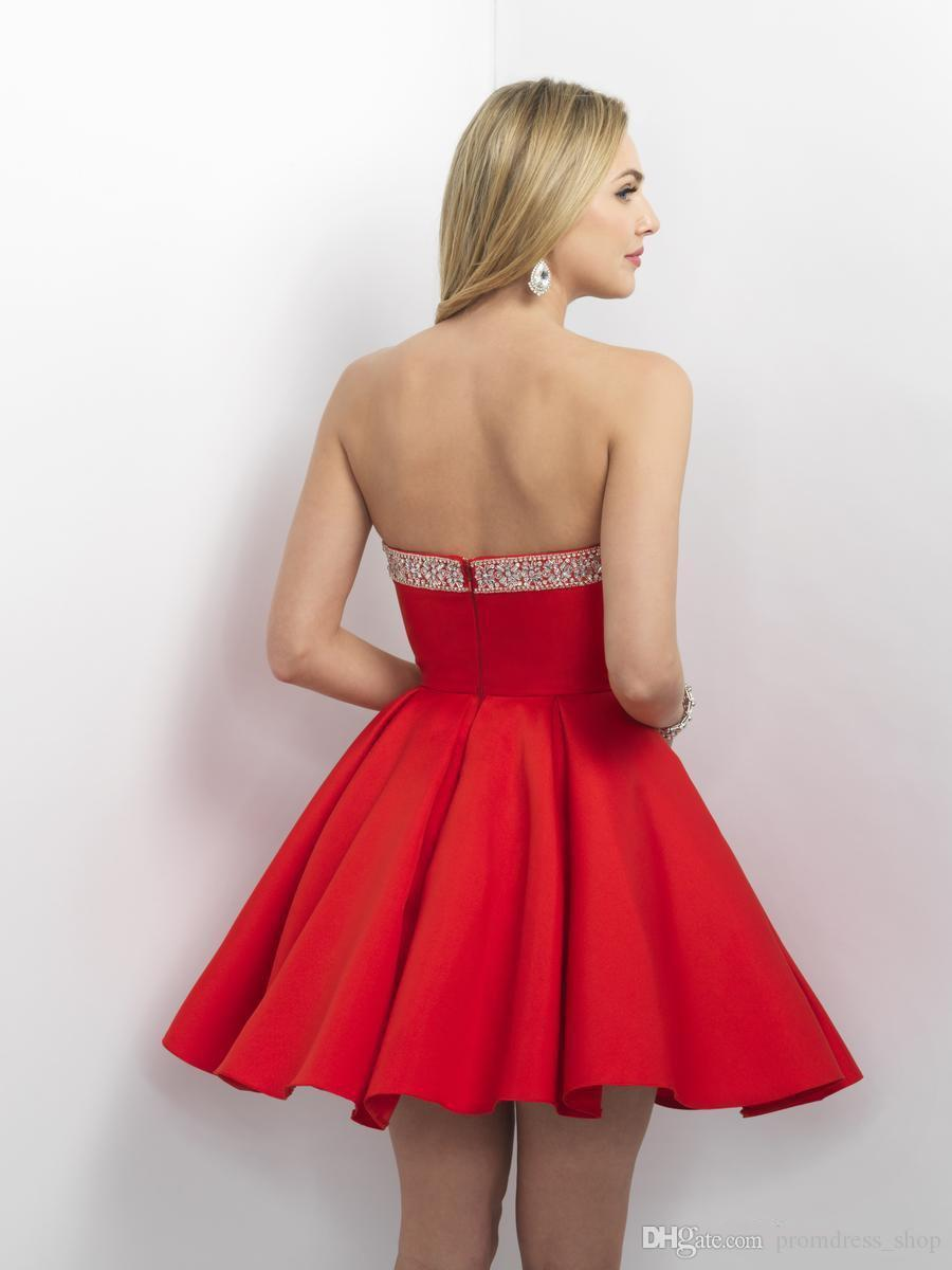 New Red Sequined Homecoming Dresses Cheap A-Line Strapless Graduation Gowns Knee Length Satin Short Prom Dress For Juniors