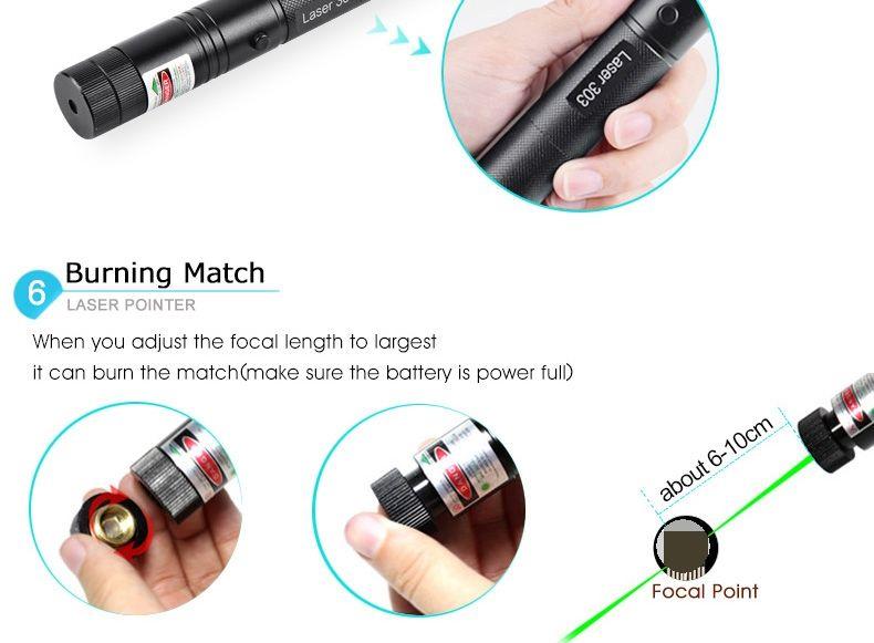 Nouveau Pointeurs Laser 303 Stylo Pointeur Laser Vert 532nm Focus Focus Batterie Et Chargeur De Batterie EU US VC081 0.5W SYSR