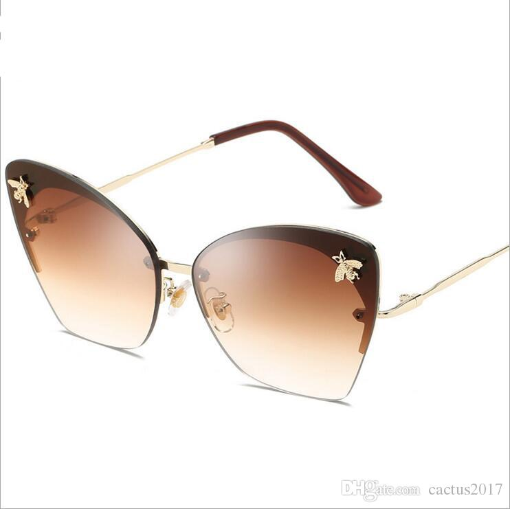 67d1568fde49f Cute Bee Luxury Sunglasses Women 2018 Vintage Rimless Ladies Shades Italy  Trending Fashion Pink Sun Glasses Female Lunette Eyeglasses Sunglasses Hut  From ...