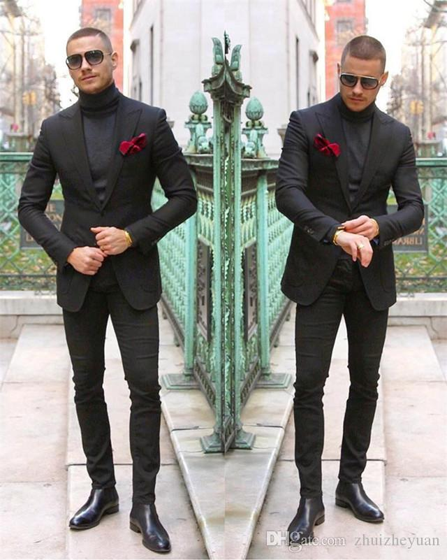 Nuevo diseño barato de dos piezas Traje negro para hombre Por encargo de la boda Esmoquin Slim Fit Hombres Ropa formal chaqueta + pantalones