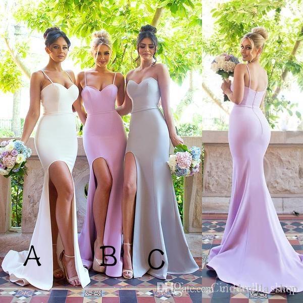 Neues Design 2019 High Slit Mermaid Brautjungfern Kleider Sweep Zug Hochzeitsgast Party Prom Kleider Maßgeschneiderte Günstige Spaghetti Sweet Heart
