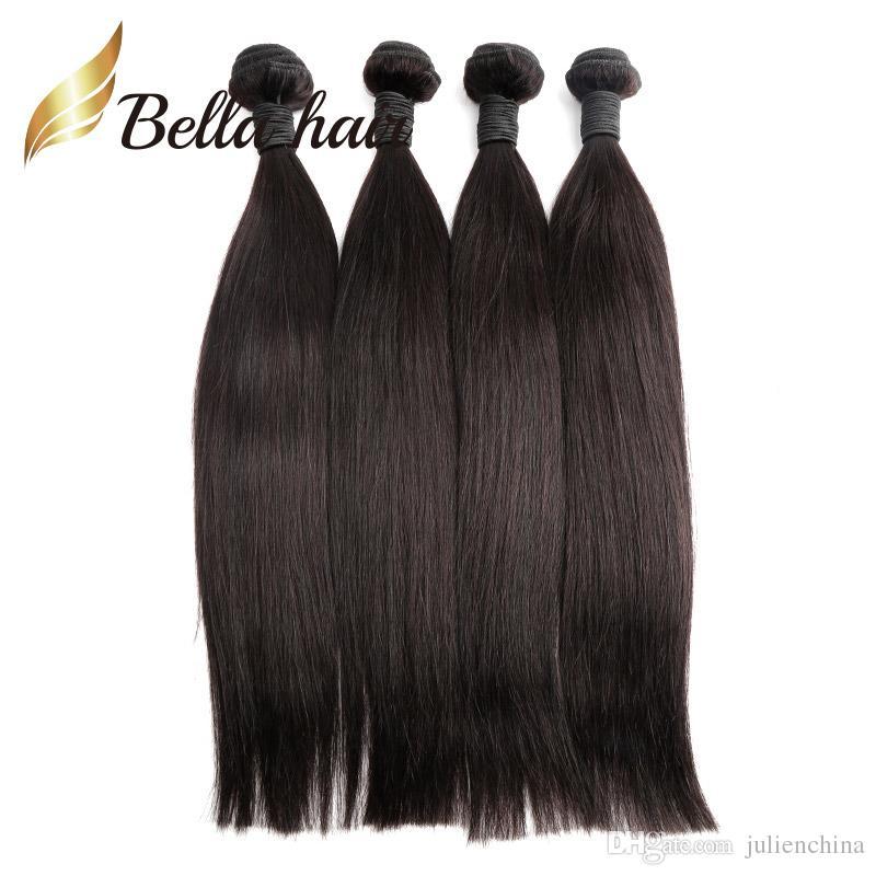 Bella Hair® Günstigste 4 Bundles Brasilianische Menschenhaar-Webart 7A Donor-Hair Natural Black 8-24 Zoll dickes, ordentliches reines Haar