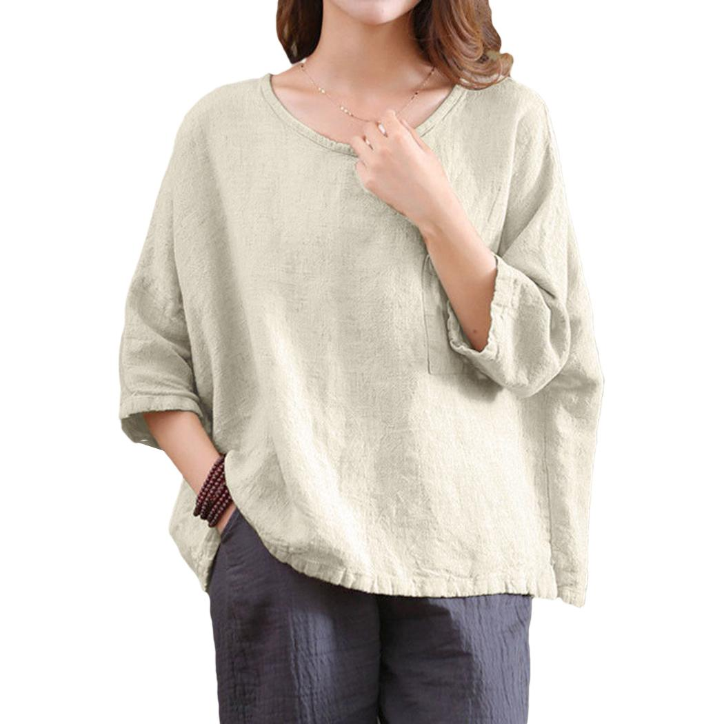 c3ad3ef8c038ef 2018 Vintage Casual Loose O Neck Blouse Shirts Linen 3/4 Sleeve Women's  Plus Size Tunic Tops Female Tee Shirts Camisas Mujer