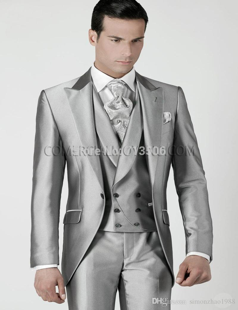 cc520d4b5fa6 New Brand Tailored Wedding Suits For Men 2018 Custom Made Shiny Sliver  Tailcoat Groom Tuxedos Men Wedding Dress Bridegroom Men Suit Wedding Suits  For Groom ...