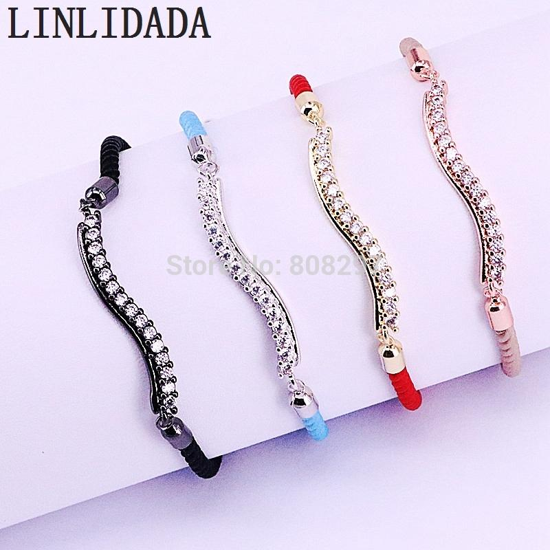 8Pcs High Quality Rope Bracelets Jewelry Charm CZ Micro Pave Connector Bracelets In Adjustable Size
