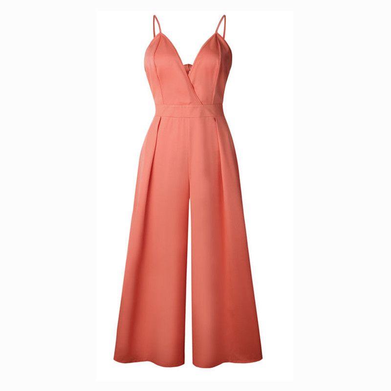 c84ff03d8c83 2019 Harem Romper Loose Jumpsuit Coveralls Women S Spaghetti Strap Deep V  Neck Plus Size Jumpsuit From Burtom