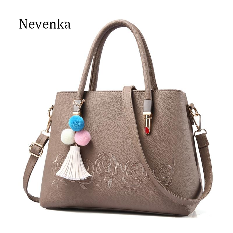 afdaa8606c52 Nevenka 2017 Brand New Design Women Colorful Flower Pattern Bags Quality  Leather Handbag Ladies Tassel Embroidery Casual Tote