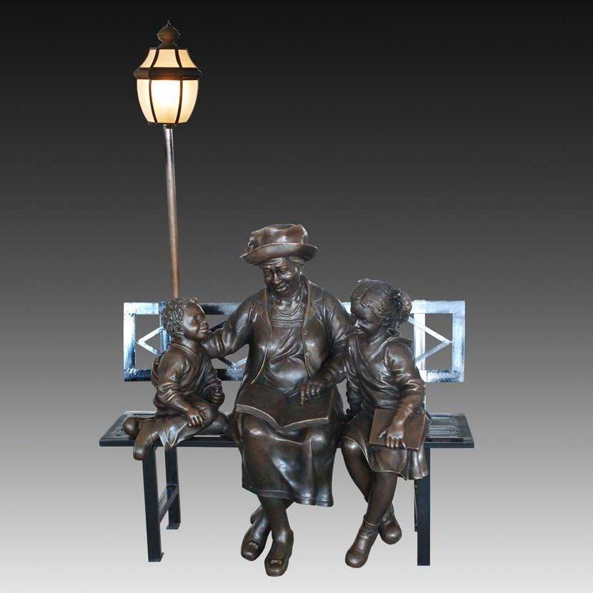 Großhandel Dekoration Kinder Mit Alten Frau Bronze Statue Road Licht ...