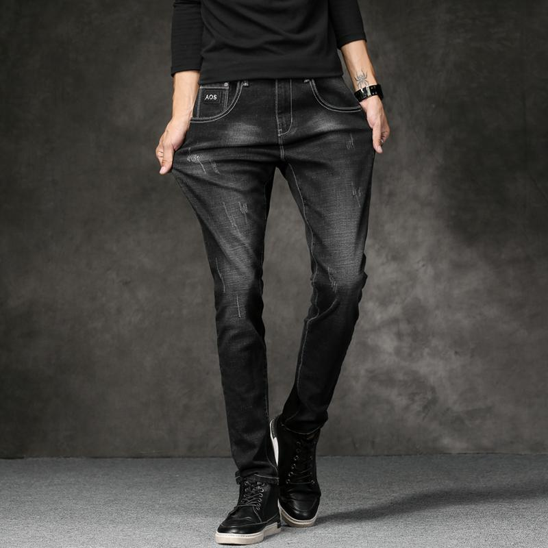 Fashion Men's Denim Jeans Trendy Scratched Men Jeans Pants Slim Fit High Quality Black Blue Trousers