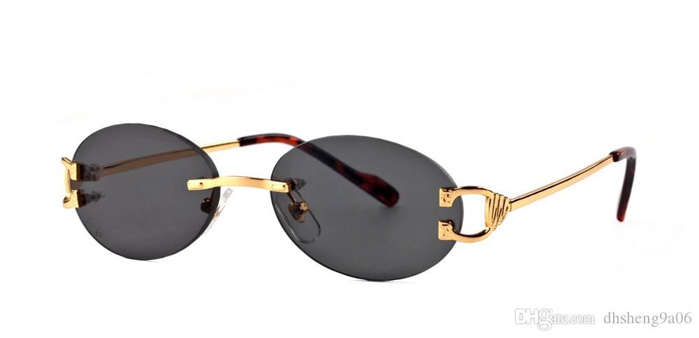 b02ecc240688b Compre França Sem Aro Oval Óculos De Sol Das Senhoras Do Desenhador Dos  Homens Marca De Luxo Chifre De Búfalo Óculos De Leopardo Ouro E Prata Quadro  Óculos ...