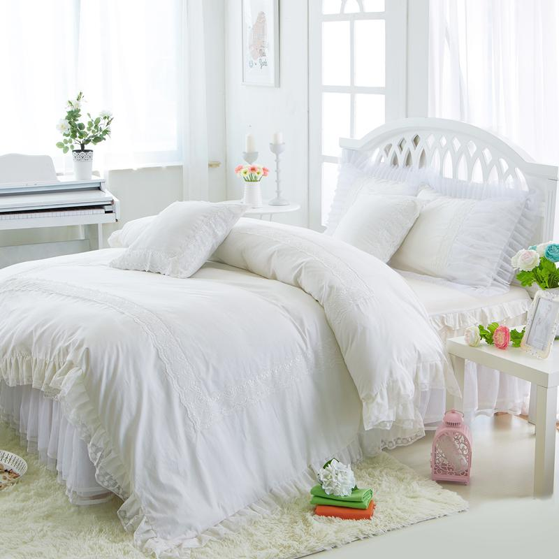 Princess White Bedding Set Luxury 4 Ruffles Duvet Cover Bed Skirt
