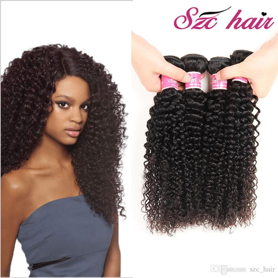 Peruvian Virgin Hair Afro Kinky Human Hair Weave 3 Curly Crochet