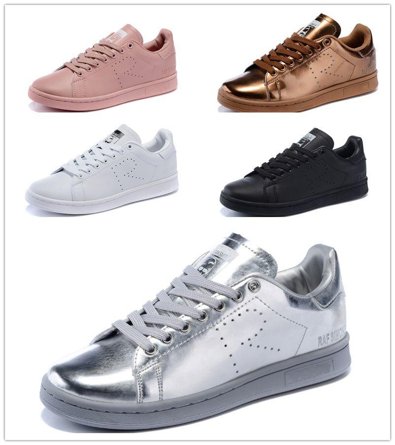 new arrival 7af1c b39df Compre 2016 Adidas Raf Simons Stan Smith Primavera Cobre Blanco Rosa Negro  Moda Zapato Hombre Casual Cuero Marca Mujer Hombre Zapatos Flats Sneakers A  ...
