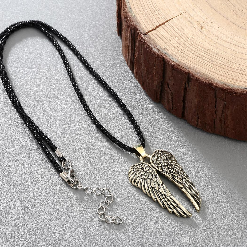 Angel Wing Guardian Choker Necklaces Men Vintage Gothic Feather Pendants Antique Silver Tone Kolye Fashion Jewelry