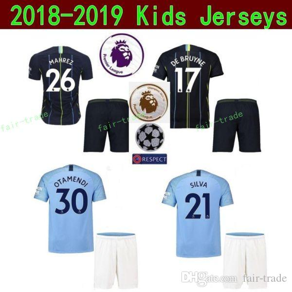 official photos 88f27 64651 Kids Man Manchester City Youth STERLING Jersey Soccer Champions Premier  SANE MAHREZ BERNARDO HART Bravo Football Shirt Kit Children Uniform