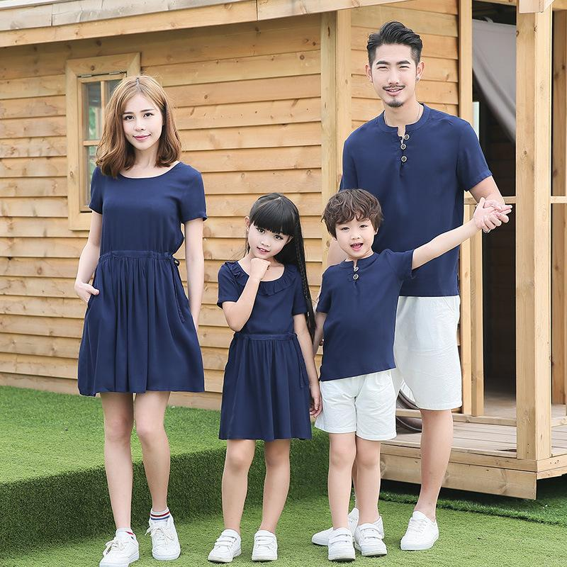 Family Matching Outfits Parent-child outfit 2017 autumn outfit fashion linen cotton Mother Daughter Dresses Father Son T-shirt