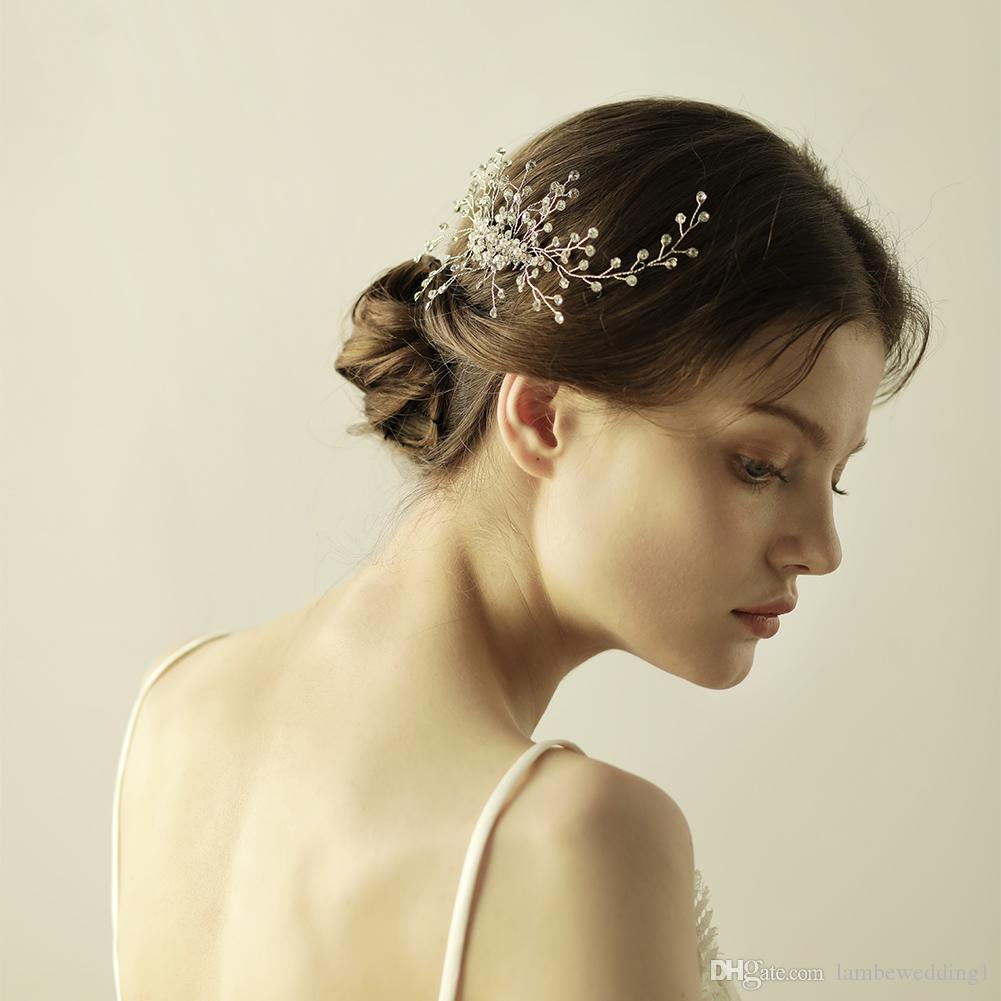 Floral Charm Combs For Wedding Rhinestone Pearl Bridal Headpieces Flexible And Bendable Tiaras Handmade Delicate Bridal Accessories