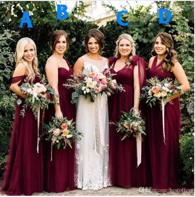 1c25bac39a 2019 Beach Burgundy Tulle Long Country Bridesmaid Dresses Off Shoulder  Pleats Summer Garden Wedding Party Guest Junior Gowns BA7548 Custom  Bridesmaid ...