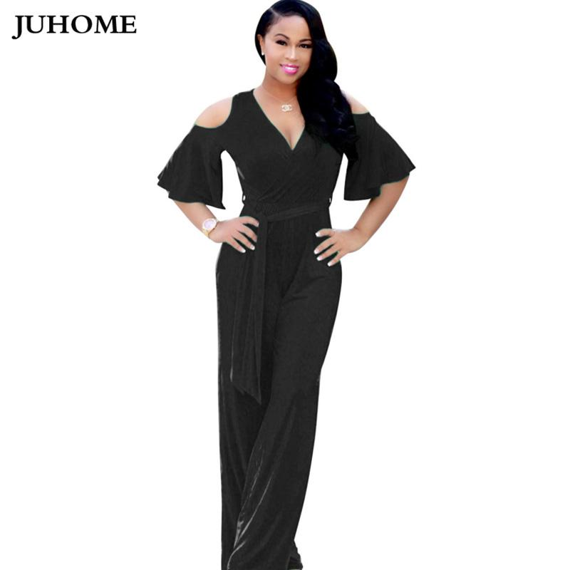 2a66b83ff5b3 Summer Style Off Shoulder Elegant Long Flare Trousers Rompers Womens  Jumpsuits 2018 One Piece Black Red Yellow Green Dungarees Rompers Womens  Jumpsuit Women ...