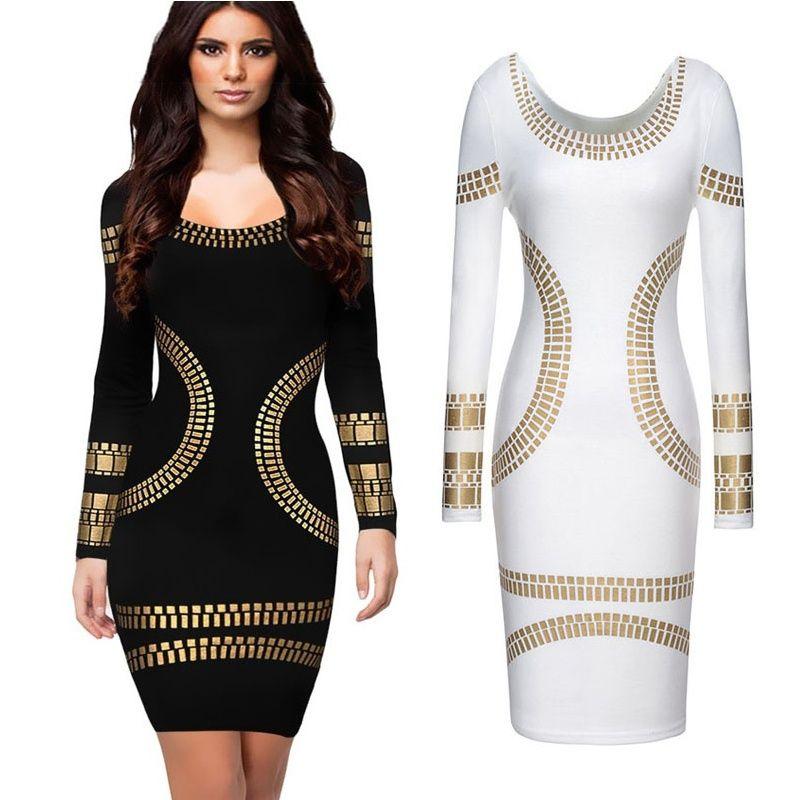 Großhandel Neueste Top Fashion Frauen Oansatz Langarm Bronzing Appliques  Elegantes, Figurbetontes Kleid Damen Stretchy Party Pencil Kleider Xs Xxl    Jy0134 ... b6fc9211c2